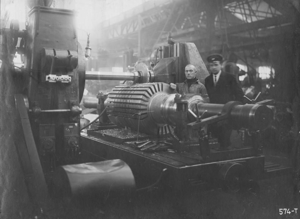 Обработка турборотора. 1926 год
